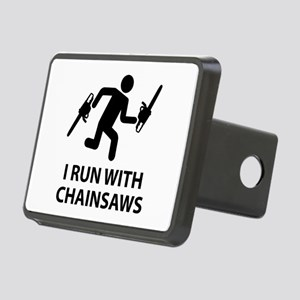 I Run With Chainsaws Rectangular Hitch Cover