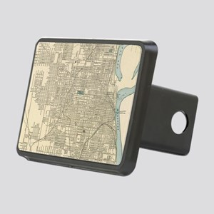 Vintage Map of Omaha Nebra Rectangular Hitch Cover