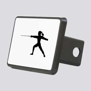 Girl Fencer Lunging Rectangular Hitch Cover