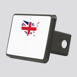 USA Map with Britain UK Fl Rectangular Hitch Cover