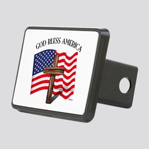 God Bless American With US Rectangular Hitch Cover