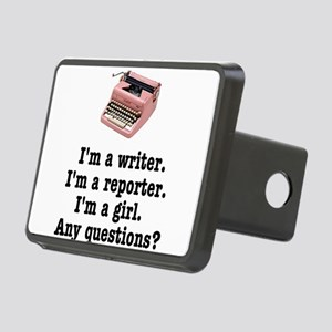 pinktypewriterback Rectangular Hitch Cover
