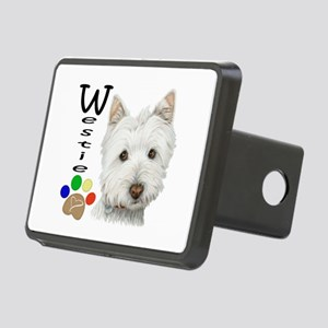 Westie Dog and Paw Print Design Rectangular Hitch