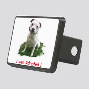 Smiling Pitbull Adopted Rectangular Hitch Cover