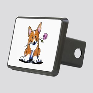 Corgi w/ Flower Rectangular Hitch Cover