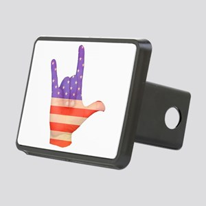 USA Flag ILY sign language hand Rectangular Hitch