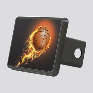 Flaming Basketball Rectangular Hitch Cover