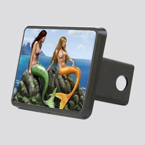 pensive mermaids on rocks  Rectangular Hitch Cover