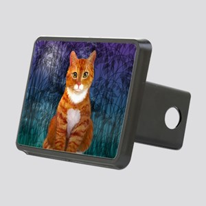 Orange Tabby Cat Snowflake Rectangular Hitch Cover