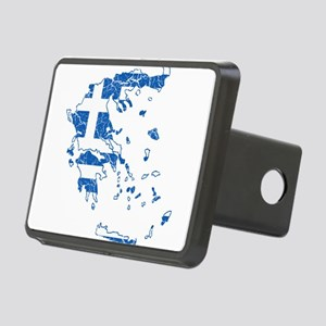 Greece Flag And Map Rectangular Hitch Cover