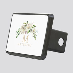 White Peony Bouquet Monogram Hitch Cover