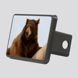 Bear on Log Photo Rectangular Hitch Cover