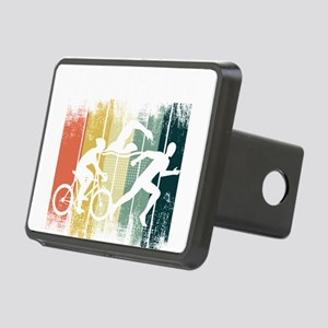 Retro Triathlon Athlete Bi Rectangular Hitch Cover