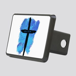 Black Cross on Blue Backgr Rectangular Hitch Cover