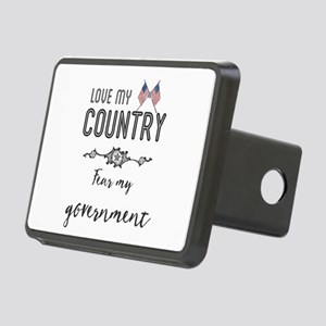 Love my country. Fear my g Rectangular Hitch Cover