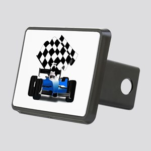 Blue Race Car with Checker Rectangular Hitch Cover
