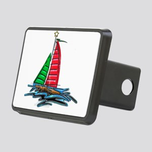 Red and Green Xmas Sailboa Rectangular Hitch Cover