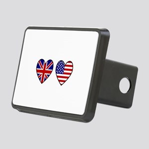 USA Union Jack Hearts on W Rectangular Hitch Cover