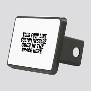 Customize Four Line Text Rectangular Hitch Cover