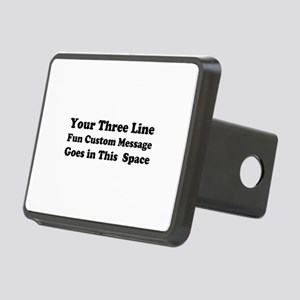Customize Three Line Text Rectangular Hitch Cover