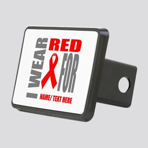 Red Awareness Ribbon Custo Rectangular Hitch Cover