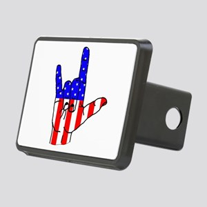 I Love USA Sign Language hand Rectangular Hitch Co