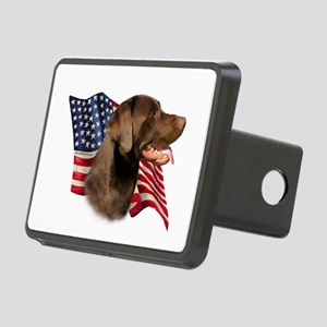 LabradorChocolateFlag Rectangular Hitch Cover