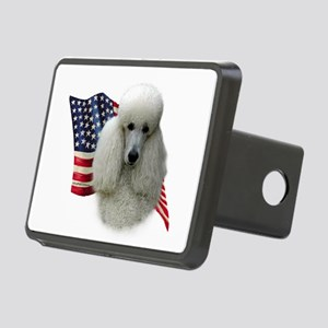 PoodlewhiteFlag Rectangular Hitch Cover