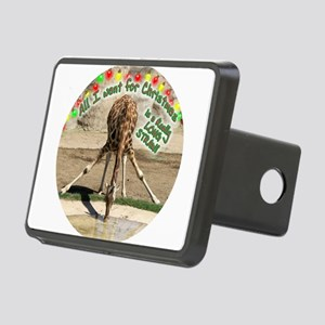 XmasDrinkingGiraffeCir Rectangular Hitch Cover