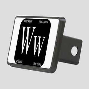 White Widow Black Rectangular Hitch Cover