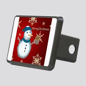Merry Christmas Snowman Rectangular Hitch Cover