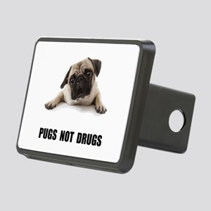 Pugs Not Drugs Black Rectangular Hitch Cover