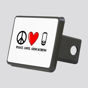 Peace, Love, Geocaching Rectangular Hitch Cover