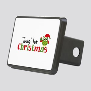 Twins' 1st Christmas Owl Rectangular Hitch Cover