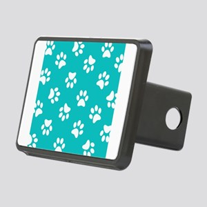 Turquoise Pawprint pattern Rectangular Hitch Cover