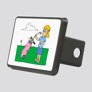 girl with pink golf bag Hitch Cover