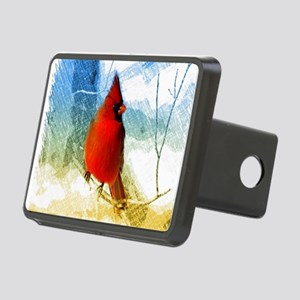 watercolor winter red card Rectangular Hitch Cover