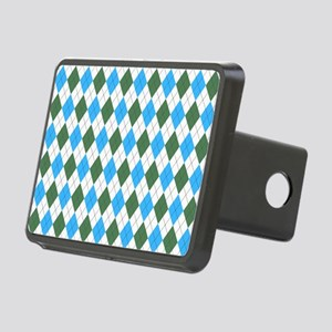 Blue & Green: Argyle Patte Rectangular Hitch Cover