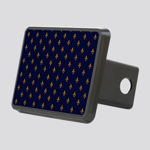Navy Blue & Gold Fleur-de- Rectangular Hitch Cover