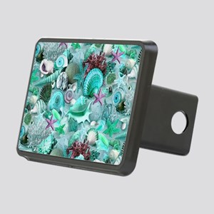 Green Seashells And starfi Rectangular Hitch Cover