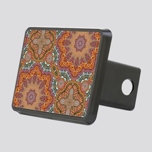 turquoise orange bohemian  Rectangular Hitch Cover