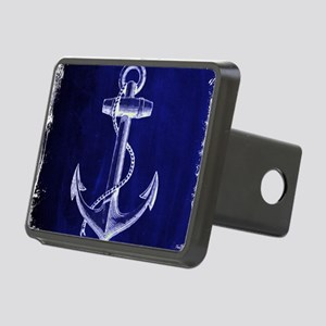 nautical navy blue anchor Rectangular Hitch Cover