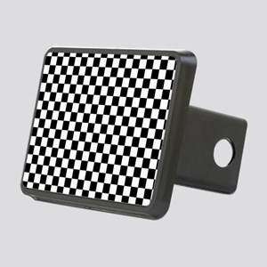 Black White Checkered Rectangular Hitch Cover