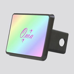 pink oma text Rectangular Hitch Cover