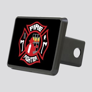 Modern Firefighter Badge Rectangular Hitch Cover