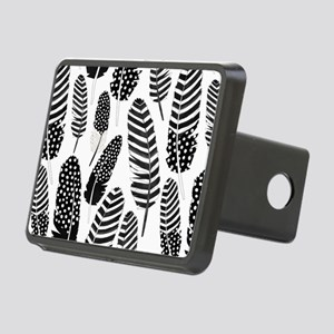 Boho Feather Pattern Watercolor Black and White Hi