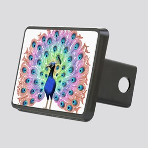 Colorful Peacock Rectangular Hitch Cover