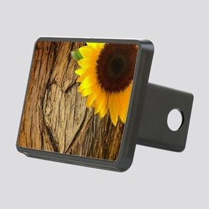 tree bark heart sunflower Rectangular Hitch Cover