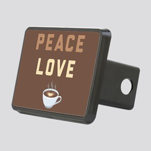 Peace Love Coffee Emoji Rectangular Hitch Cover