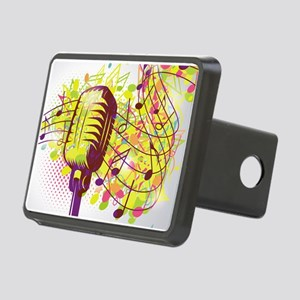 Colorful Retro Microphone Rectangular Hitch Cover